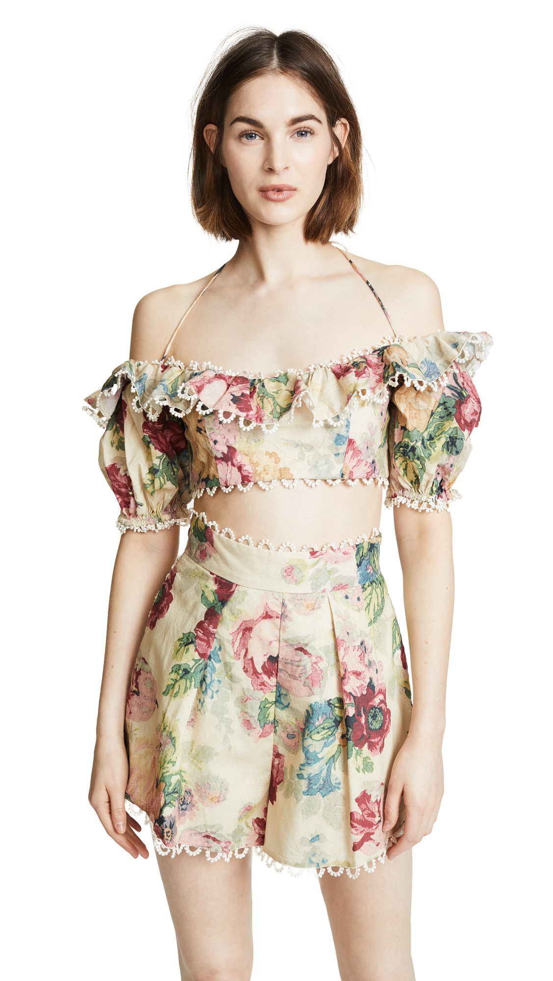 Zimmermann Melody Off Shoulder Top - Taupe Floral
