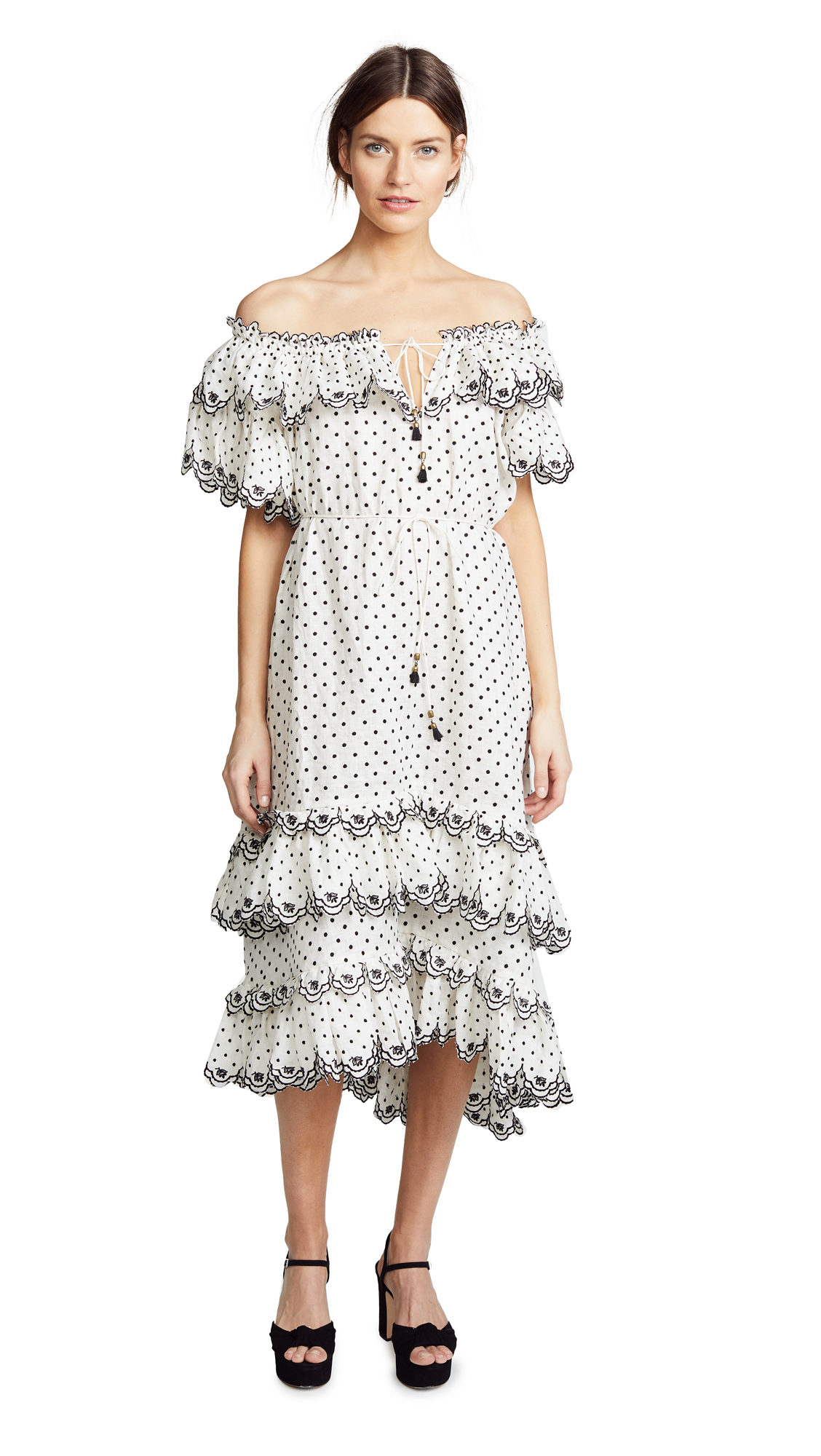 Zimmermann Jaya Scallop Tiered Long Dress - Cream/Black