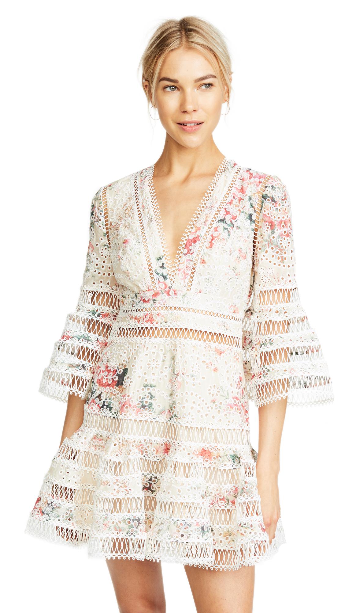 Zimmermann Laelia Diamond Flutter Dress In Meadow Floral