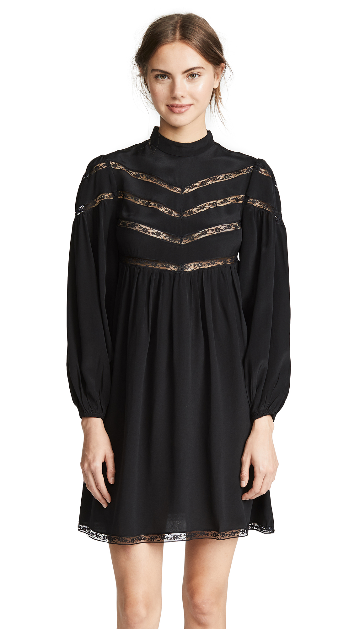 Zimmermann Chevron Lace Dress - Black