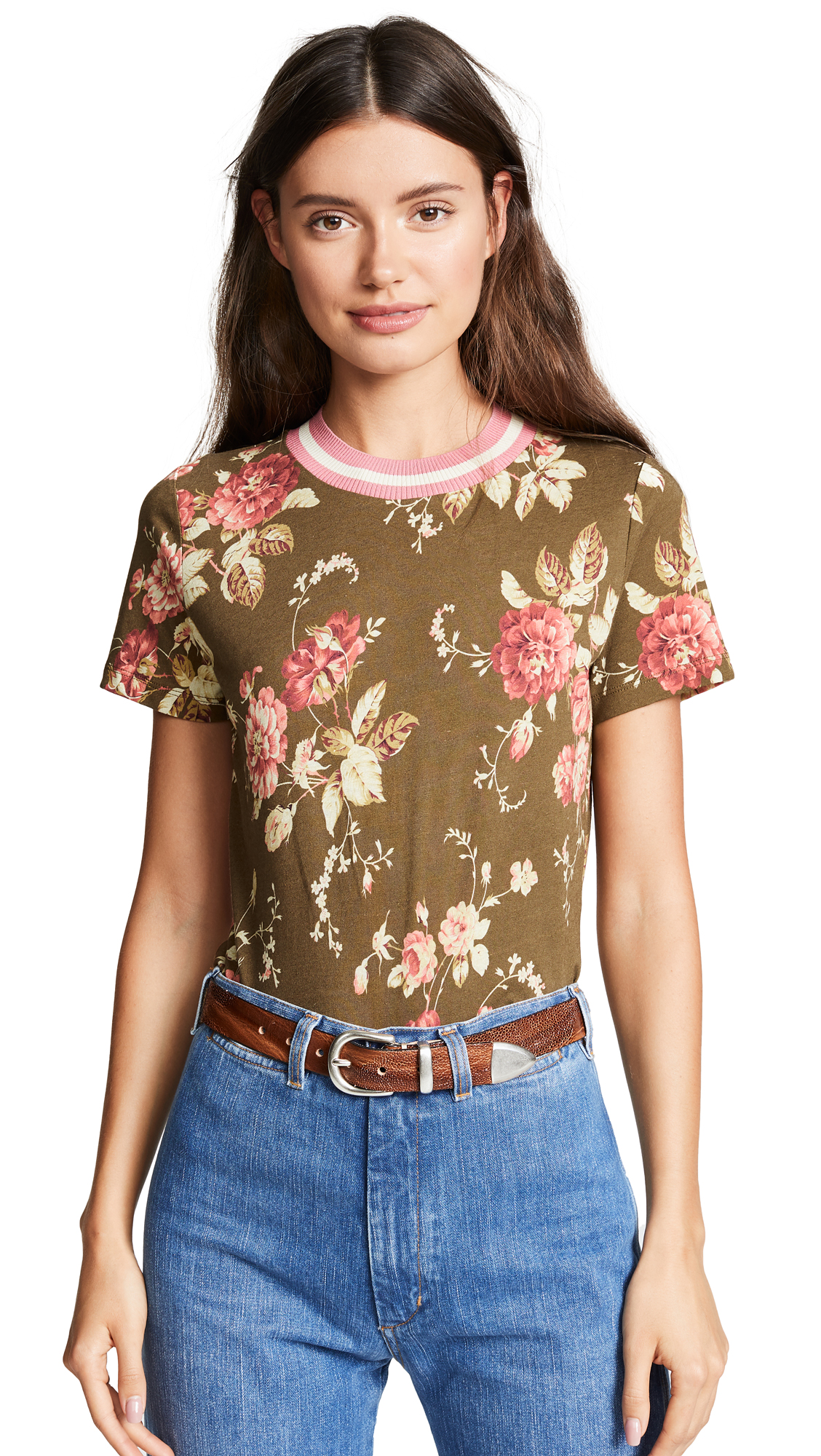 Zimmermann Fleeting Tee In Olive Garden Floral