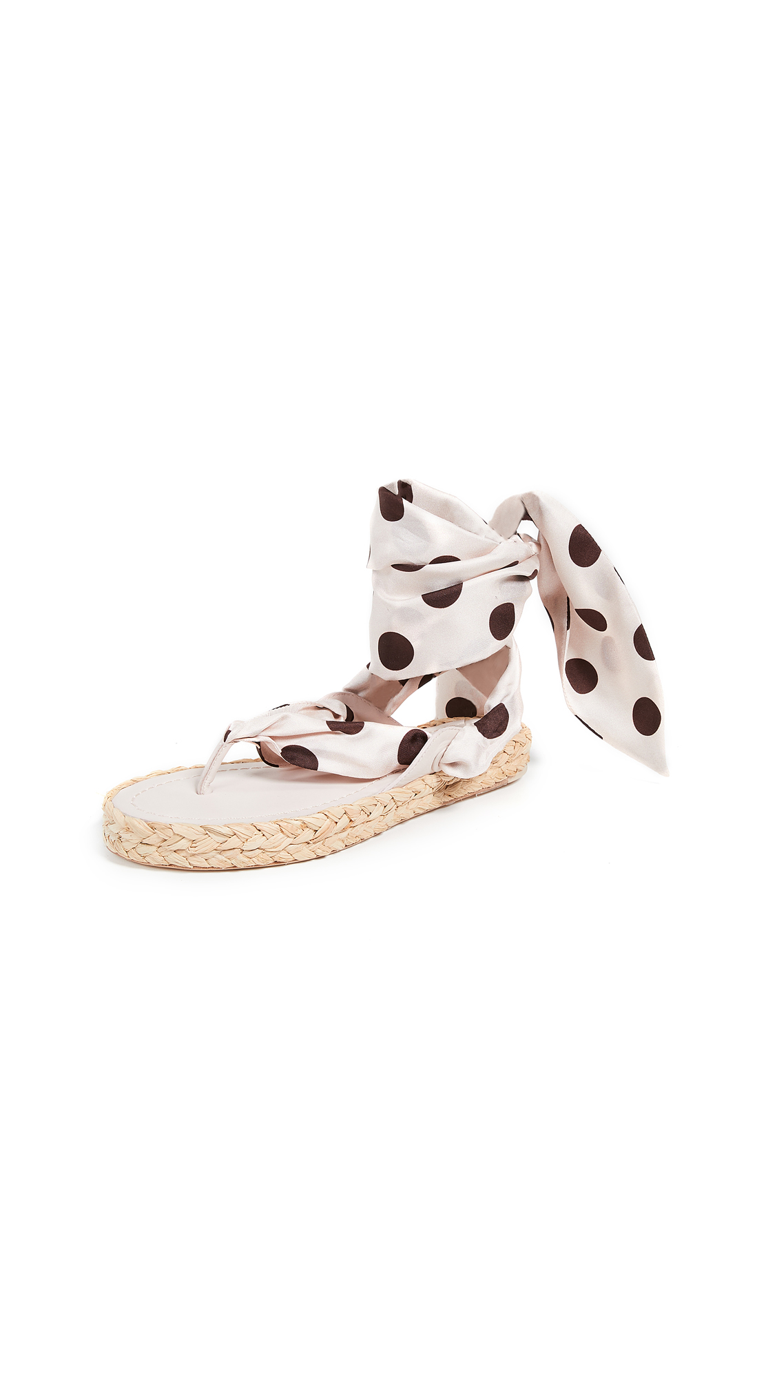 Zimmermann Scarf Tie Espadrille - Nude/Cocoa Dot