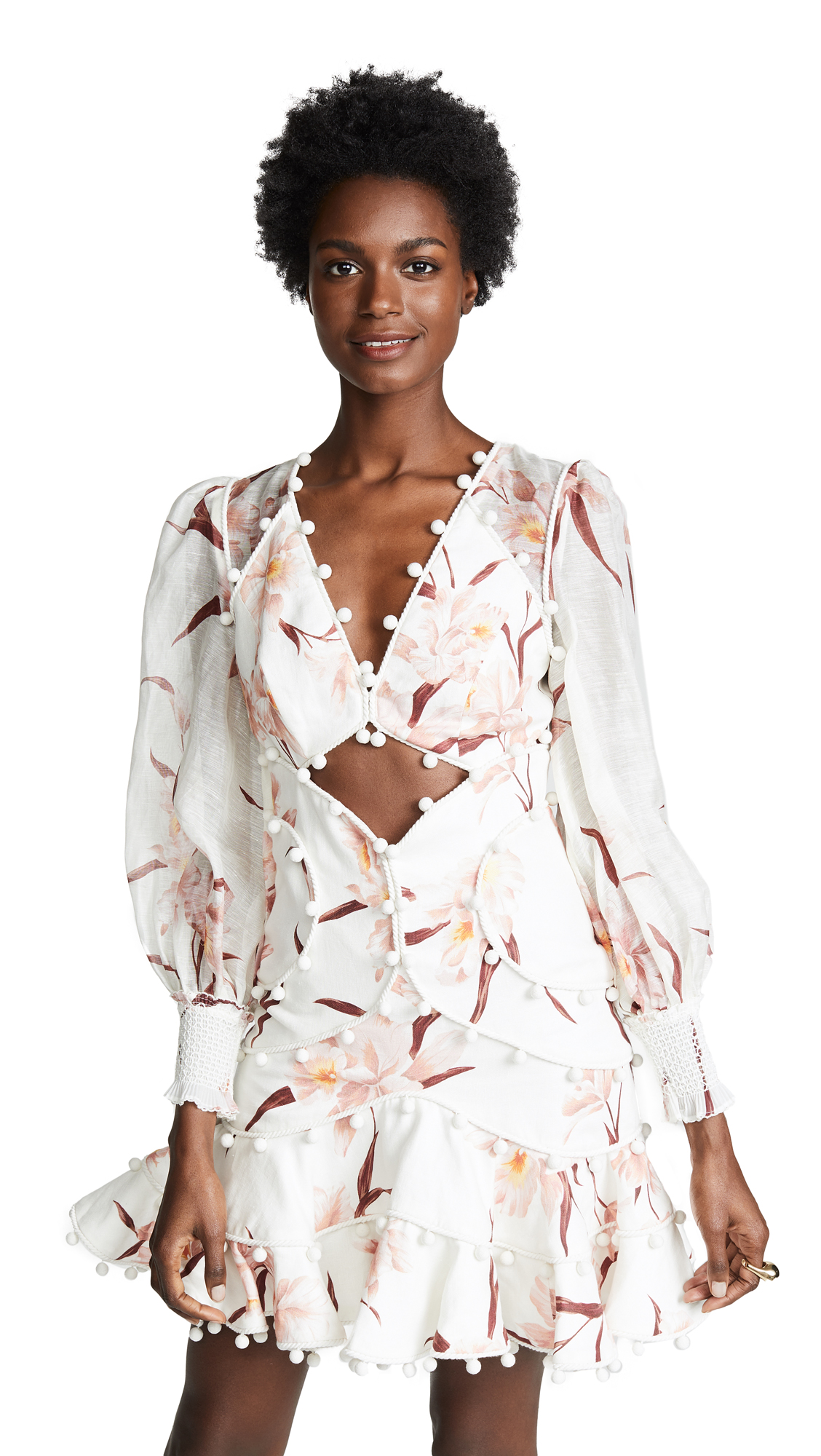 ZIMMERMANN Corsage Pompom-Embellished Cutout Floral-Print Linen Mini Dress in Ivory/Peach Orchid
