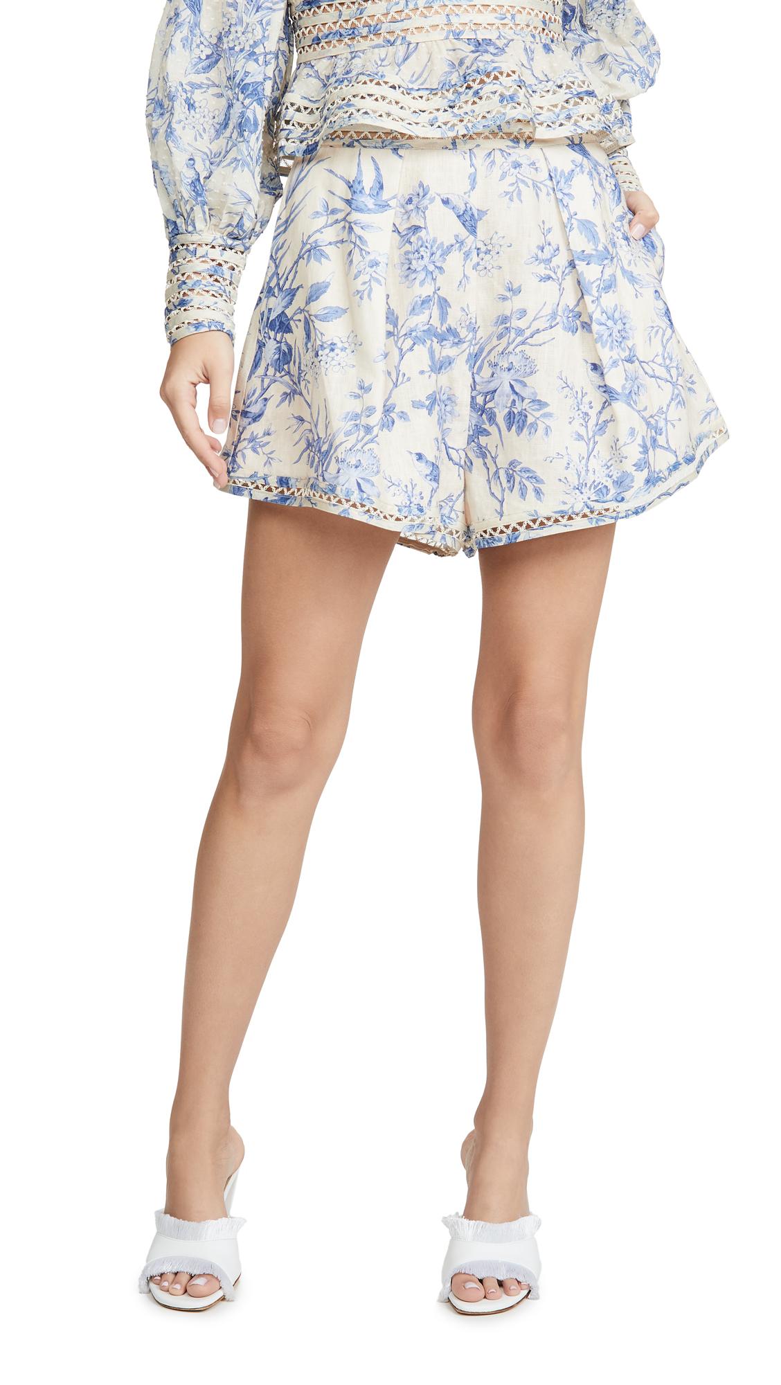 Zimmermann Verity High Waist Shorts In Bluebird