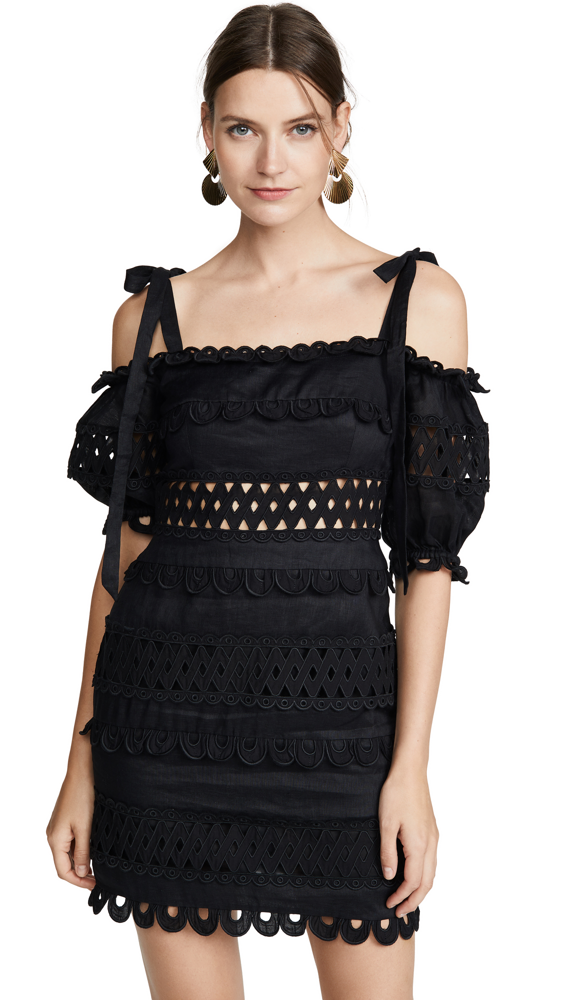 Buy Zimmermann online - photo of Zimmermann Verity Dot Off Shoulder Dress