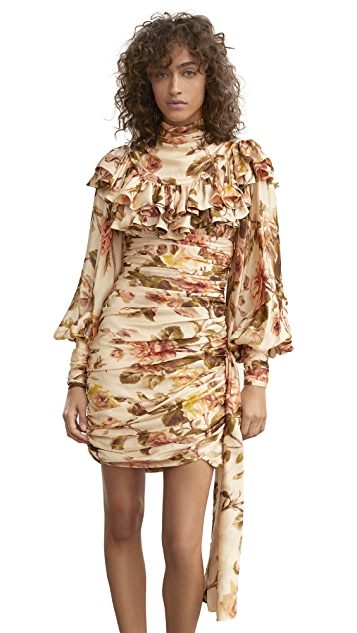 Photo of  Zimmermann Resistance Ruffle Shoulder Mini Dress - shop Zimmermann dresses online sales