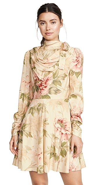 Zimmermann Espionage Silk Cowl Mini Dress