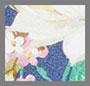 钴蓝花卉印花