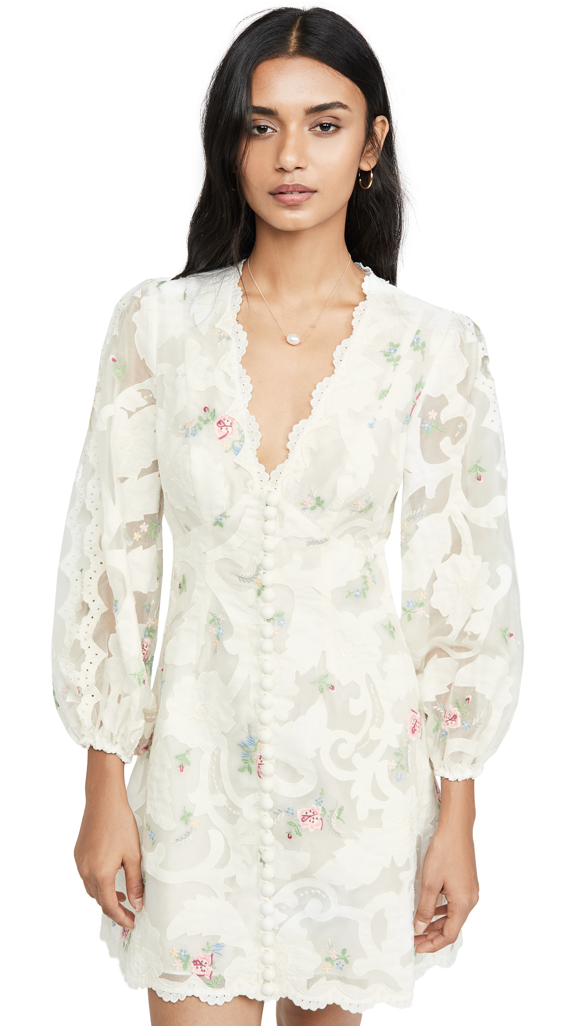 Zimmermann Zinnia Floral-AppliquÉ Organza Mini Dress In Ivory Multi