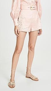 Zimmermann Freja Embroidered High Waist Shorts