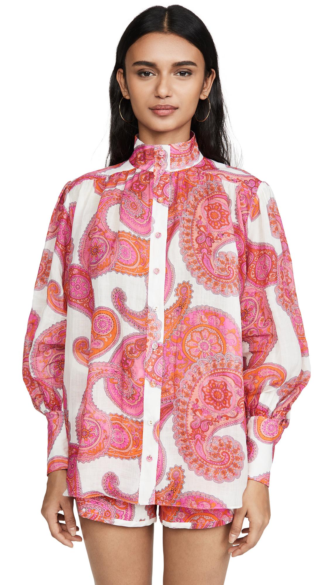 Zimmermann Peggy Bishop-sleeve Paisley-print Ramie Blouse In 白色