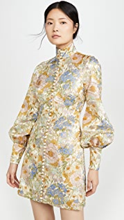 Zimmermann Super Eight Brocade Long Sleeve Mini