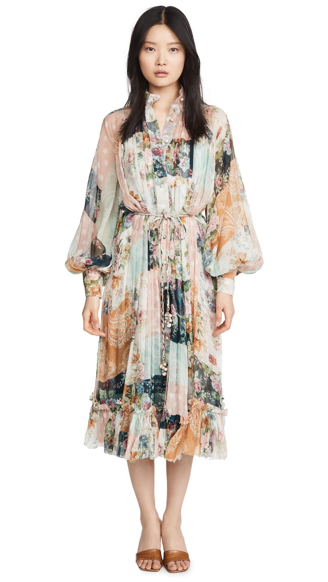 Buy Zimmermann Wavelength Smock Midi online beautiful Zimmermann Clothing, Dresses