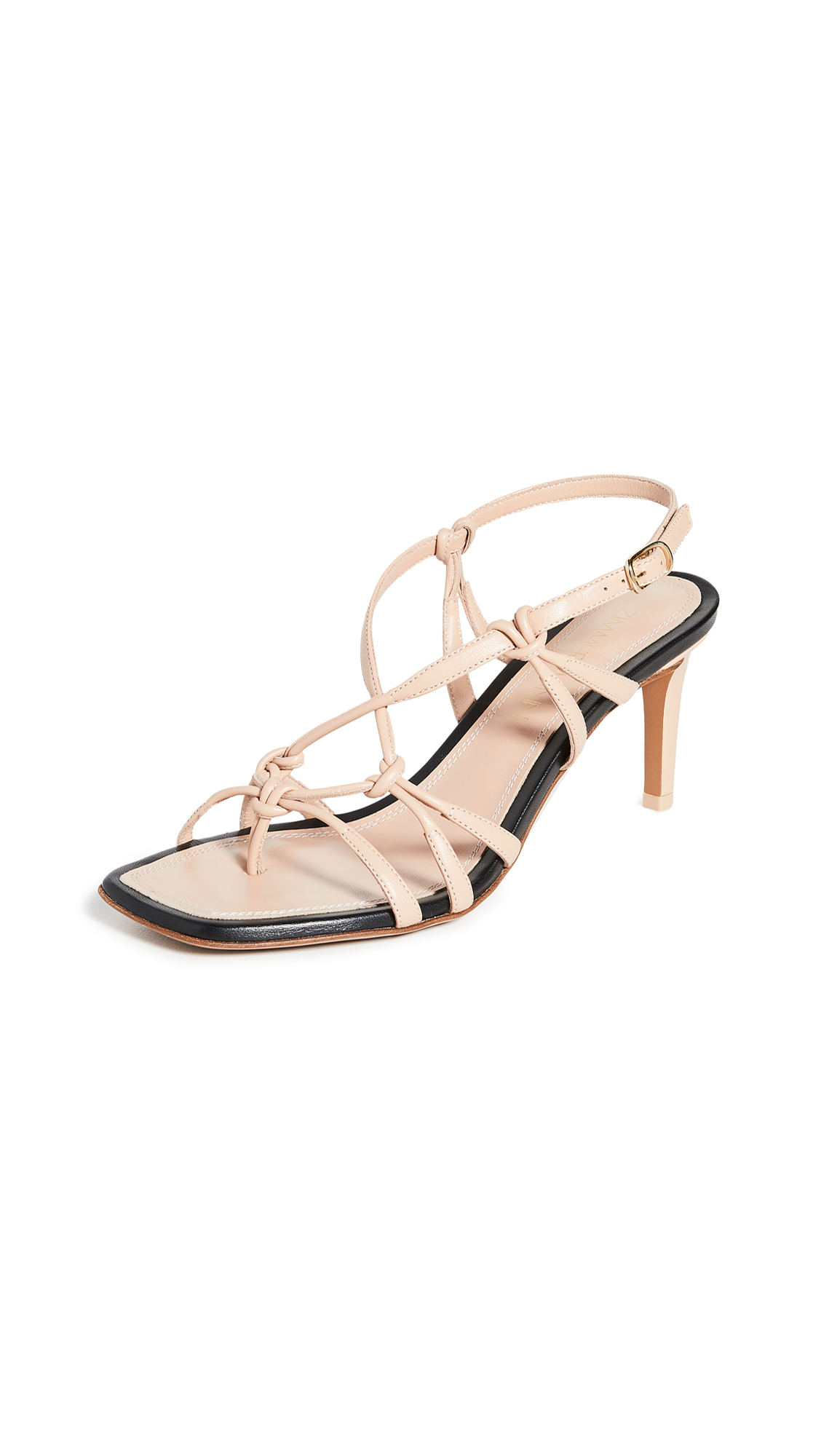 Zimmermann Knotted Strap Heeled Sandals - Nude/Black
