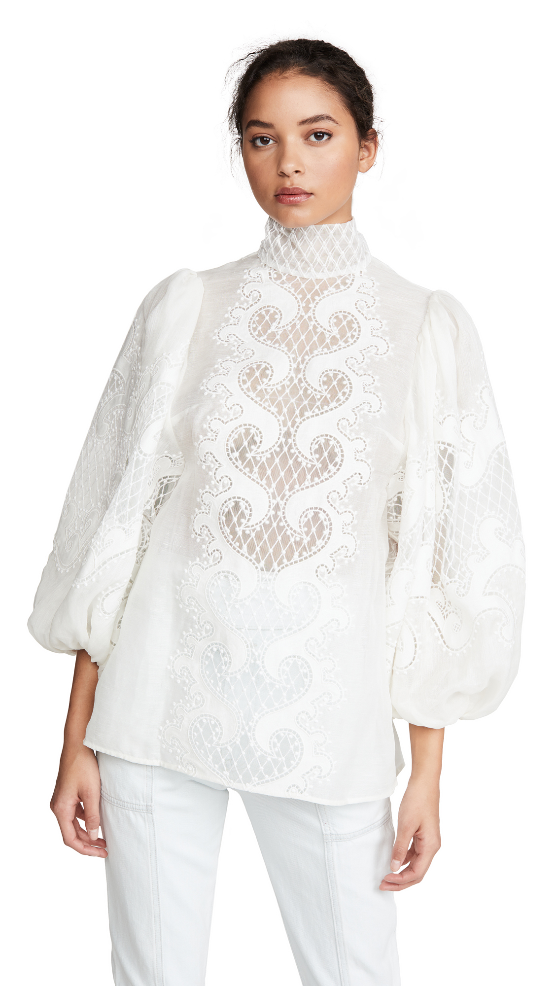 Zimmermann Brightside Knot Embroidered Blouse - 30% Off Sale