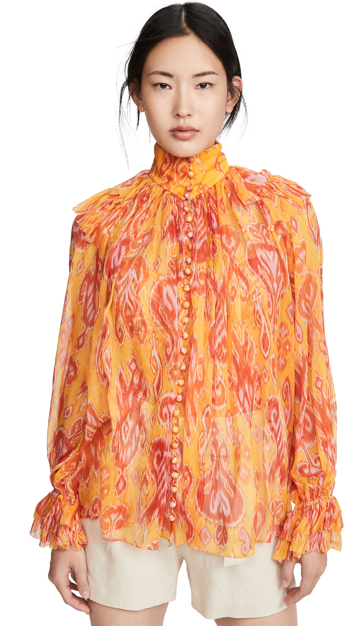 Photo of Zimmermann Brightside Frilled Blouse - shop Zimmermann Tops, Blouses online