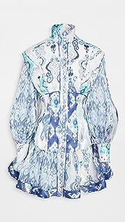 Zimmermann Glassy 长袖迷你连衣裙