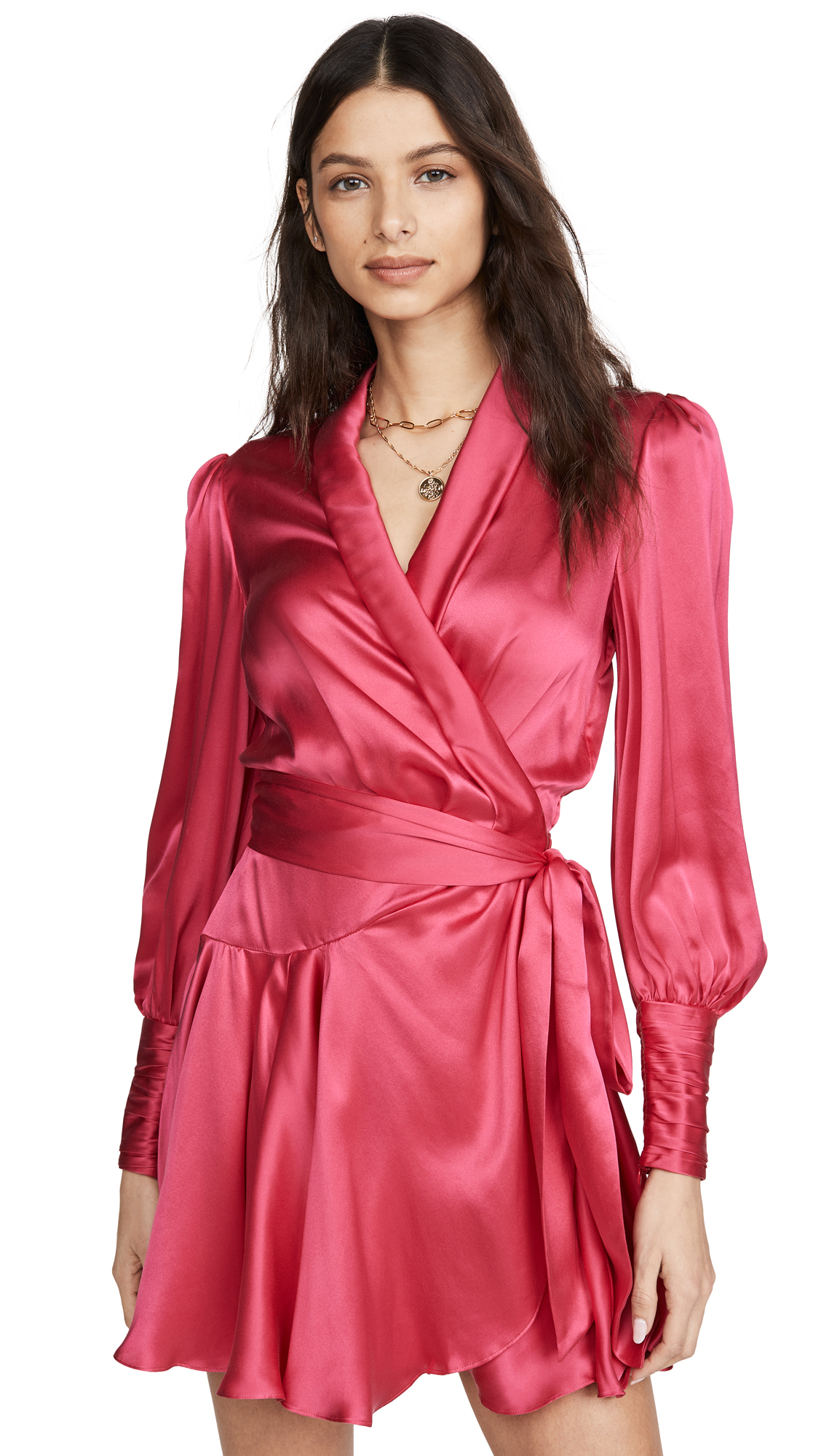 Zimmermann Silk Wrap Mini Dress - Magenta