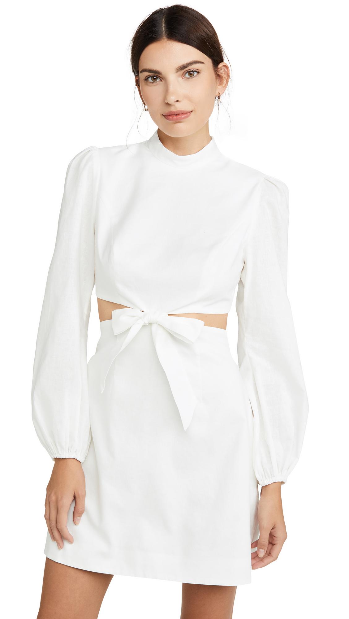 Zimmermann Zinnia Bow Cutout Short Dress - Ivory