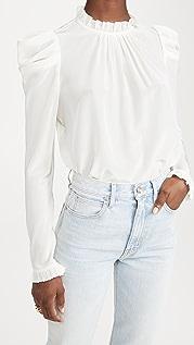 Zimmermann 真丝垂褶肩部女式衬衫