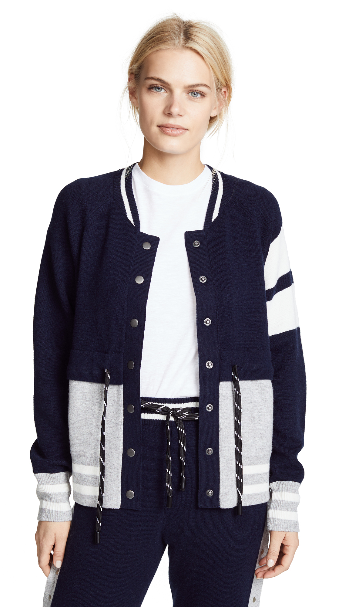 Zoe Jordan Wool Bomber Jacket In Navy