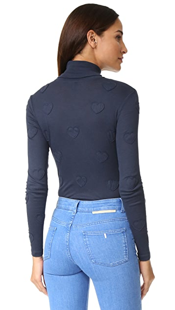 Zoe Karssen Hearts Allover Turtleneck Bodysuit