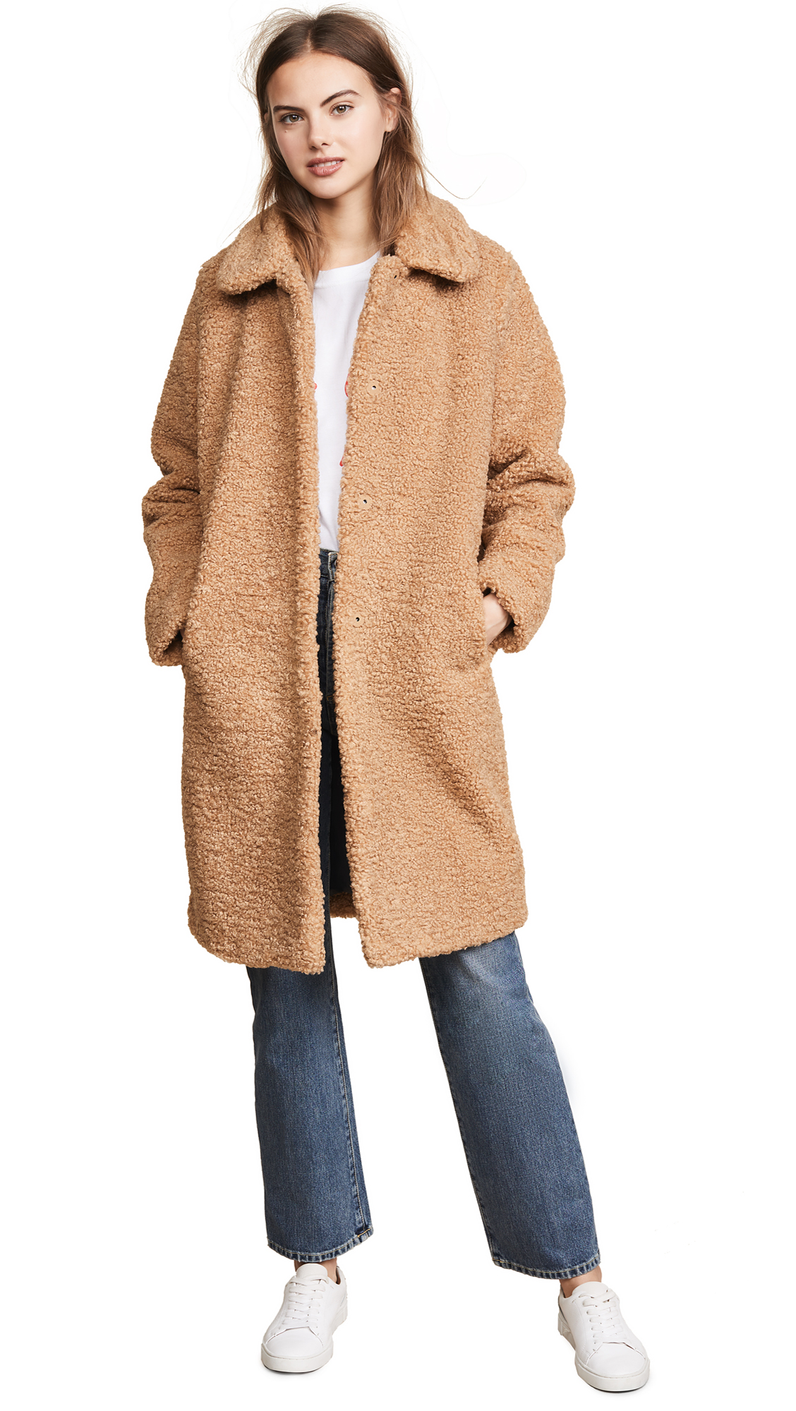 Faux Fur Teddy Coat, Brun