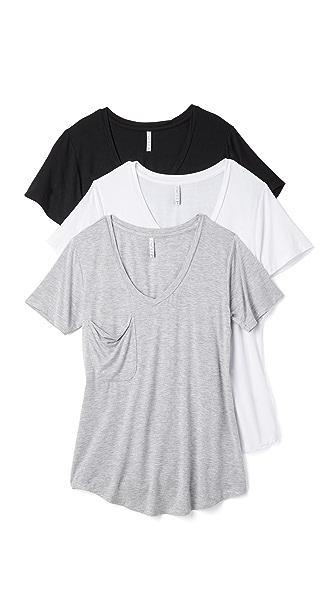 Z Supply Sleek Jersey Pocket Tee 3 Pack In Black/White/Grey
