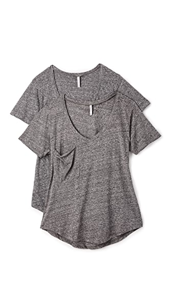 Z Supply Sno Yarn Tee 2 Pack - Charcoal
