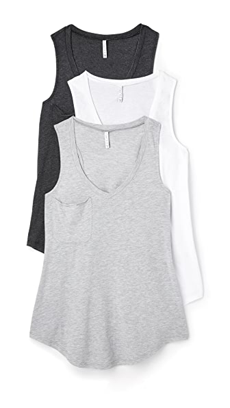 Z Supply Pocket Racer Tank 3 Pack In Black/White/Grey
