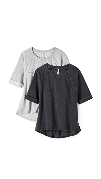 Z Supply The Shorty Sweatshirt 2 Pack - Black/Heather Grey