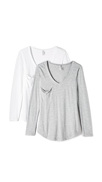 Z Supply Long Sleeve Pocket Top 2 Pack - White/Heather Grey