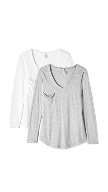 Z Supply Long Sleeve Pocket Top 2 Pack