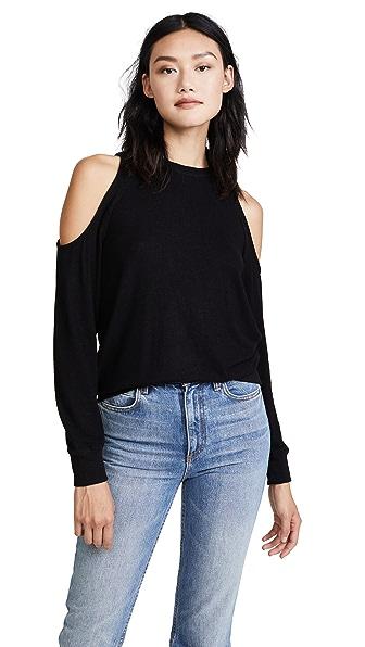 Z Supply The Marled Cold Shoulder Sweatshirt In Black