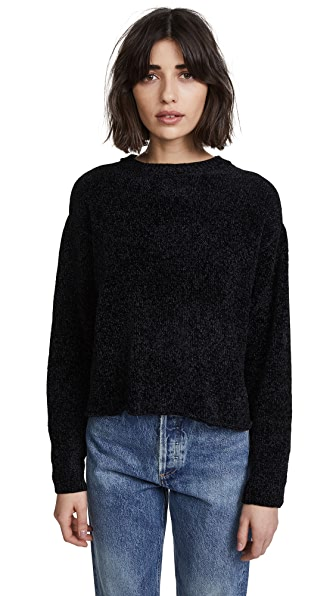 Z Supply The Chenille Cropped Pullover In Black