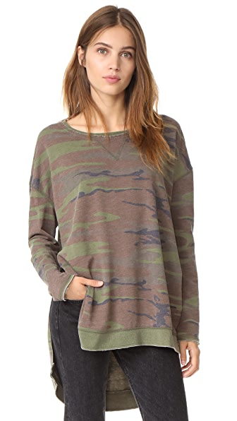 Z Supply The Weekender Pullover In Camo Green