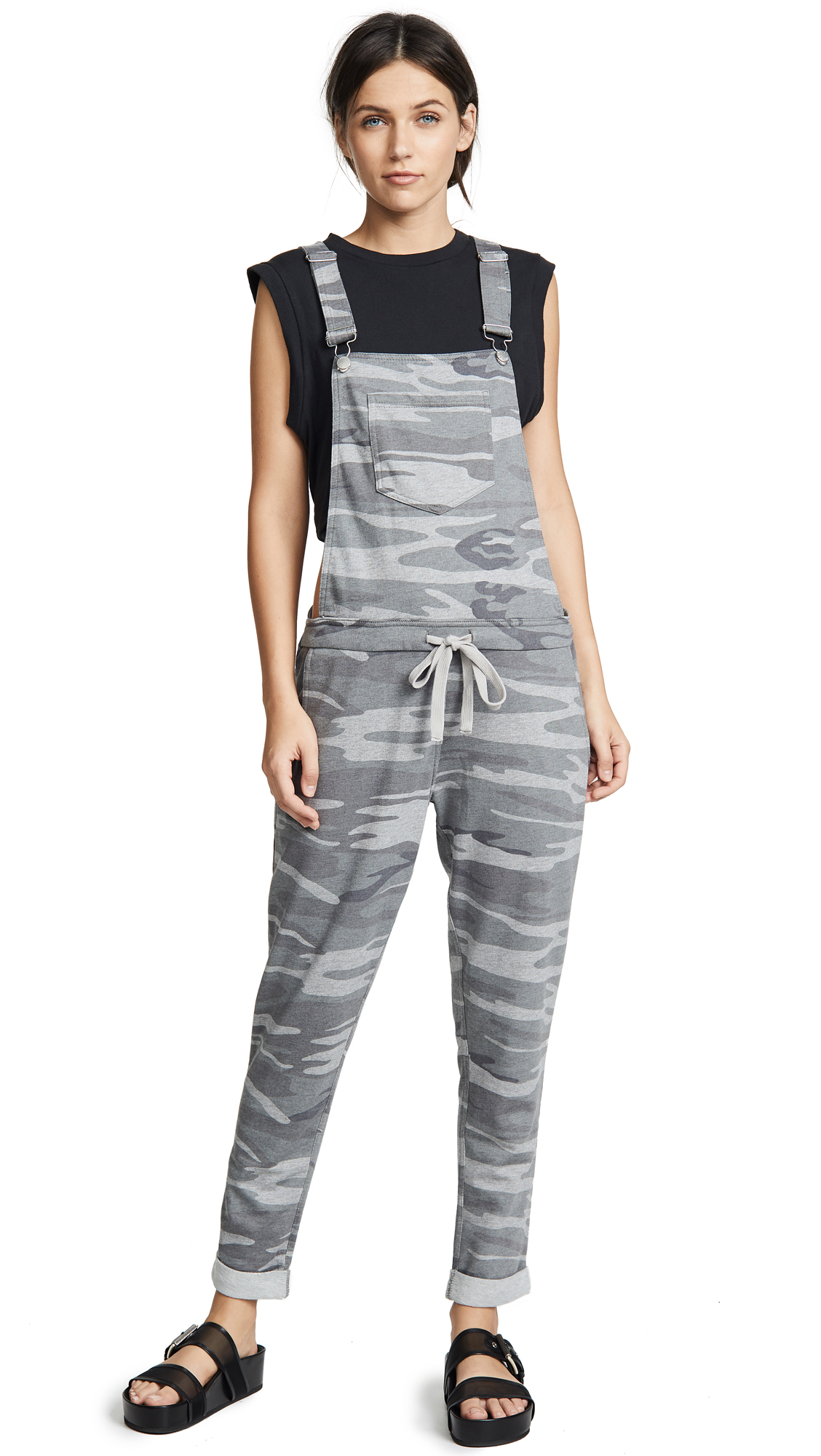 Z Supply The Camo Overalls In Dark Grey Camo