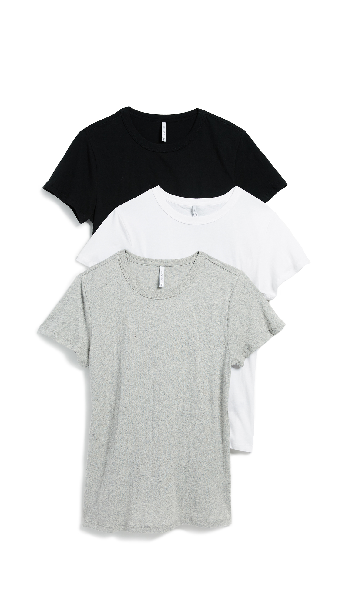 Z Supply Core Crew Tee 3 Pack In Black/White/Grey