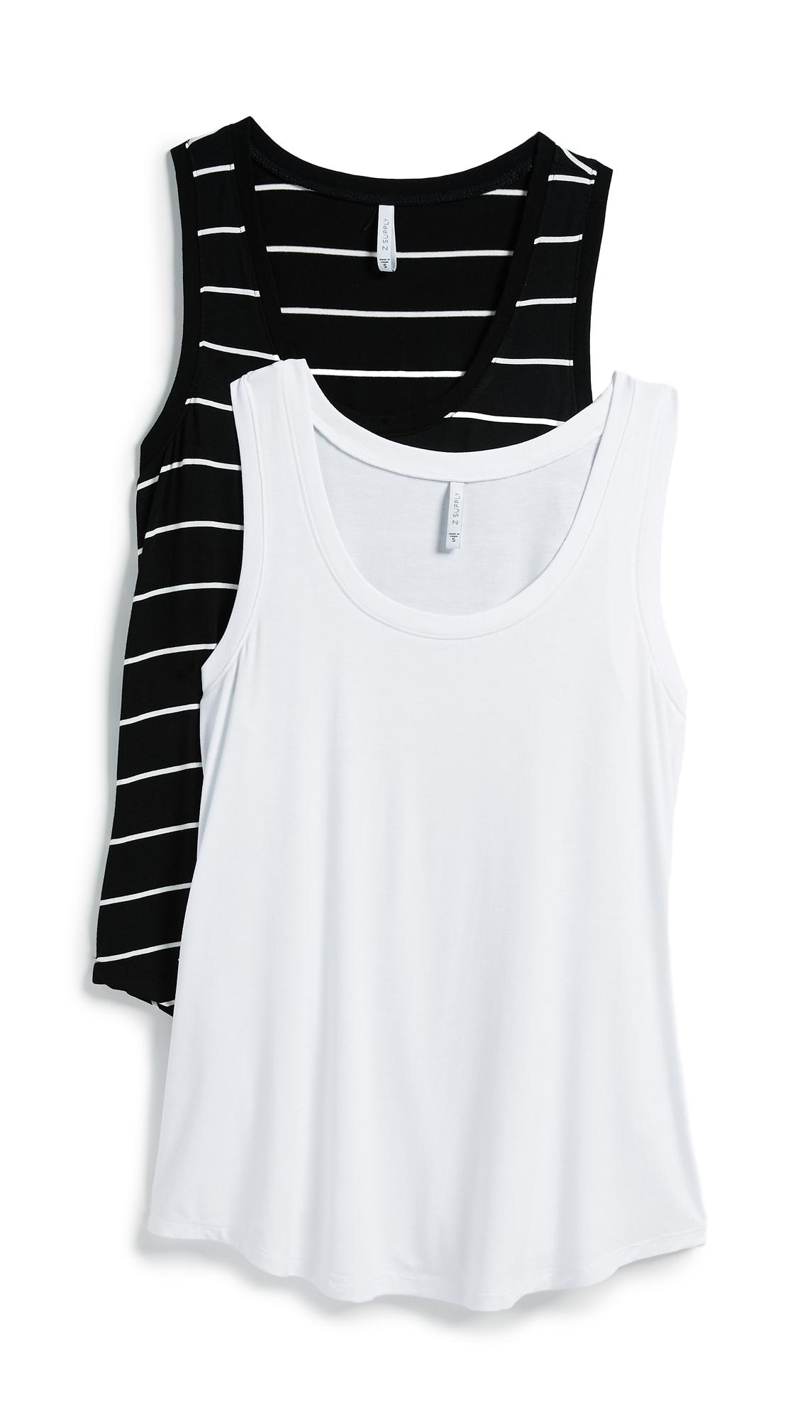 Z Supply The Sleek & Stripe Tank 2 Pack In White/Black
