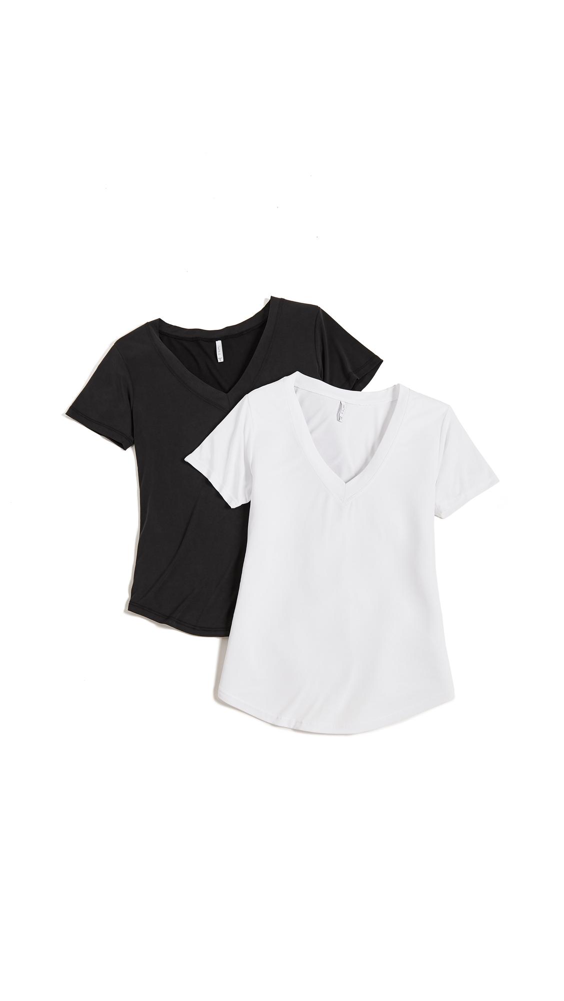 Z Supply The Luxe Modal Deep V Neck 2 Pack In White & Black