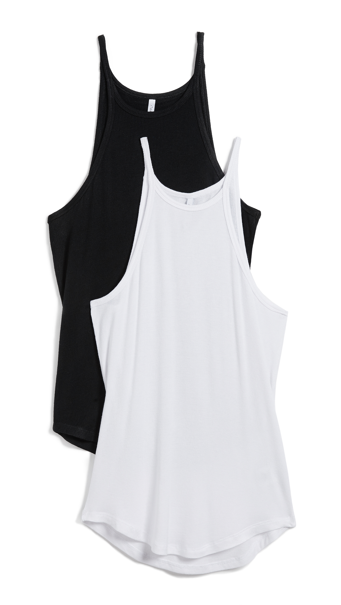 Z Supply The Micro Ribbed Tank Top with High Neck 2 Pack In White & Black