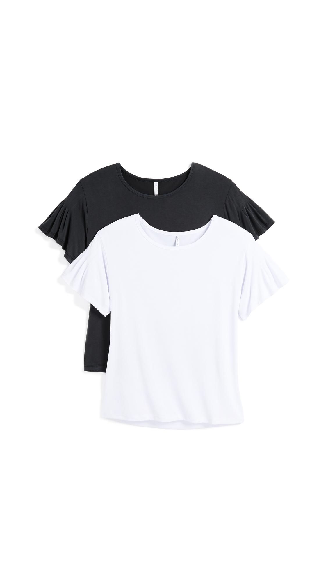 Z Supply The Ruffle Tee 2 Pack In White & Black