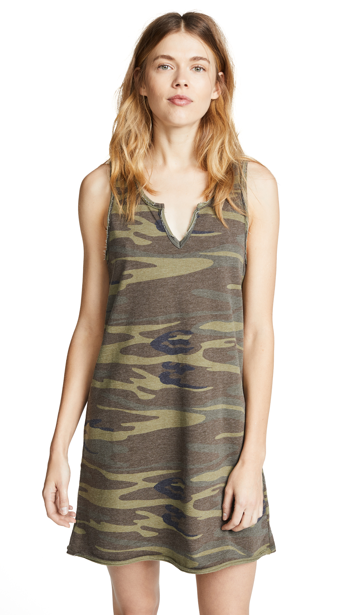 Z Supply Camo Tank Dress In Camo Green