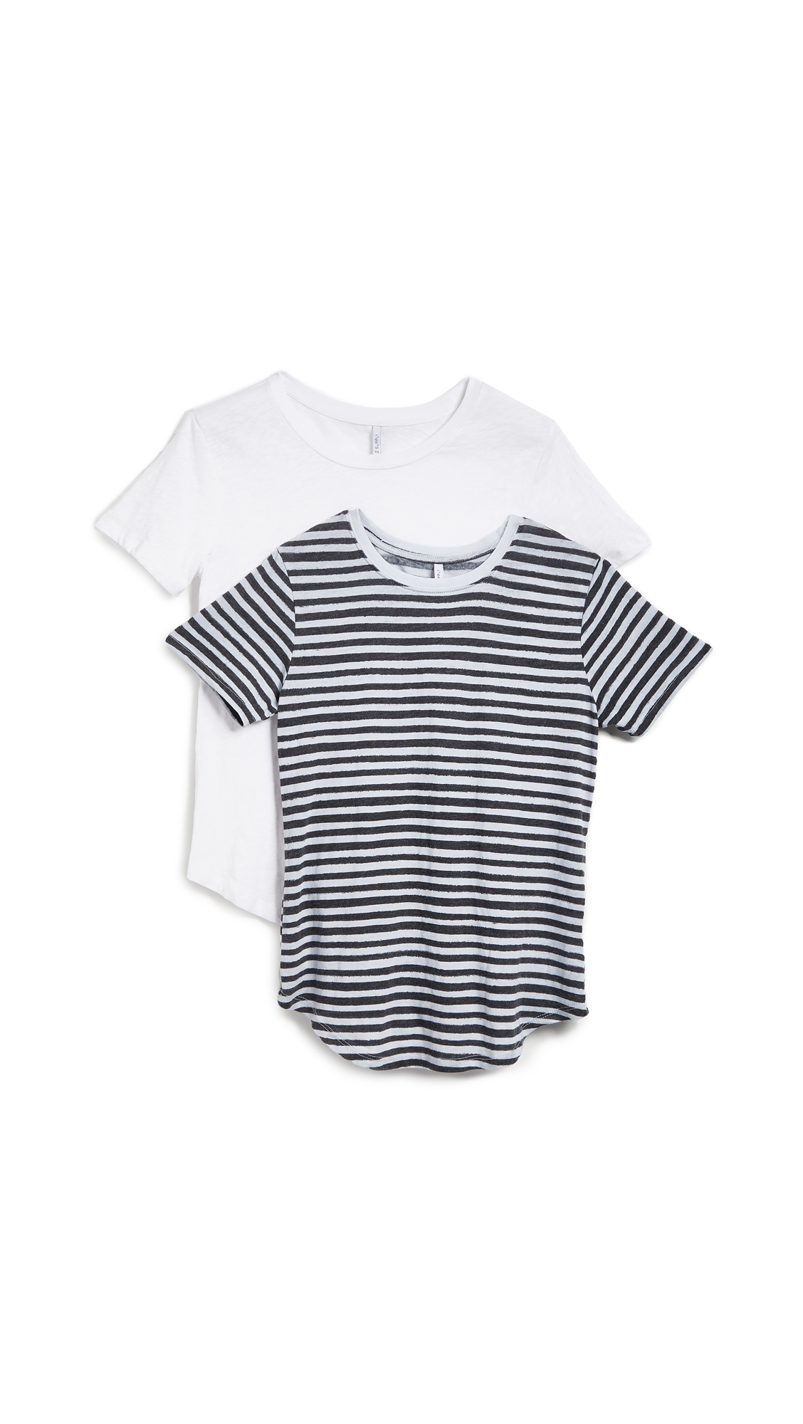 Z Supply The Ultimate Stripe Tee 2 Pack In Striped & White