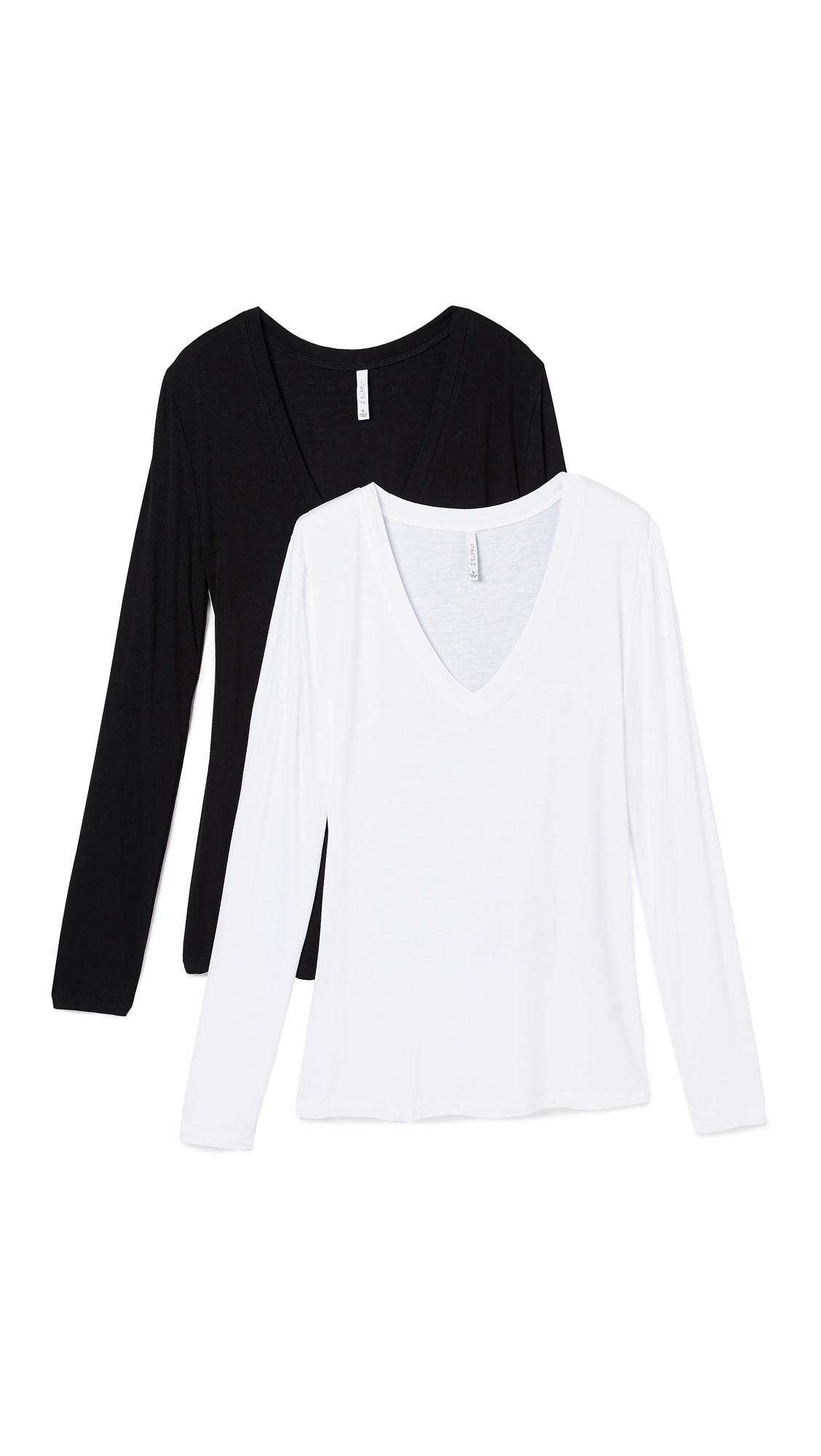 Z Supply Fitted Long Sleeve V Neck Tee - 2 Pack In Black/White