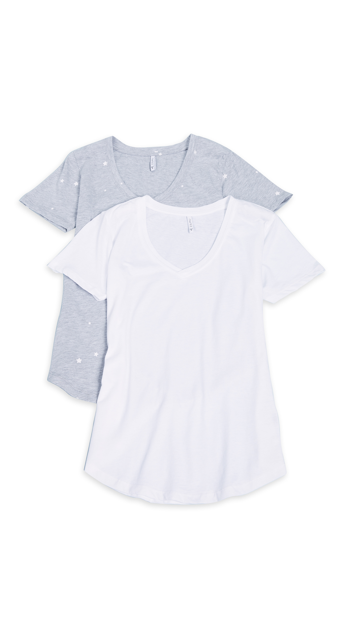 Z Supply Star & Solid Tee 2 Pack In Heather/White