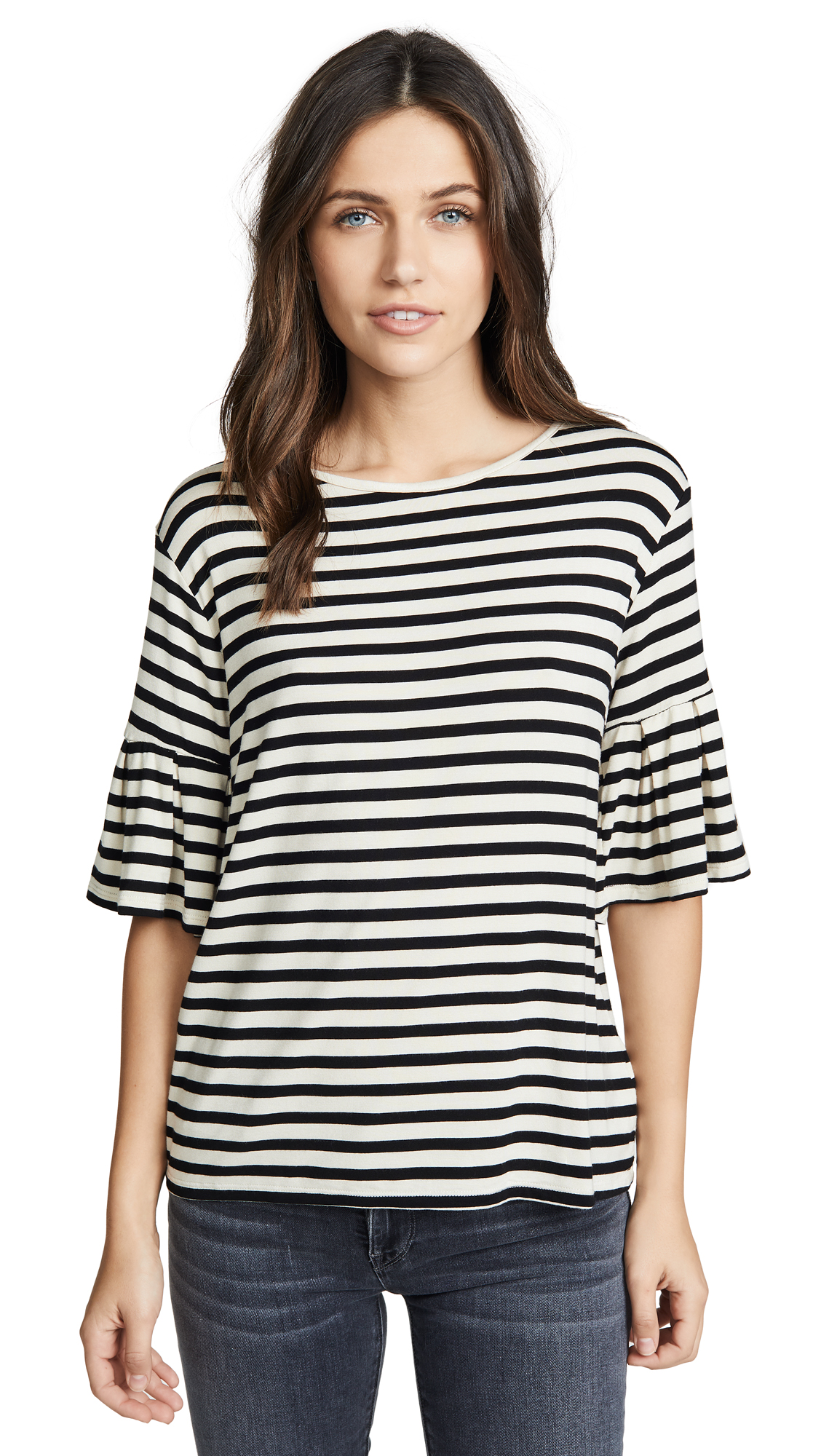 Z Supply Striped Ruffle Tee In Pearl/Black