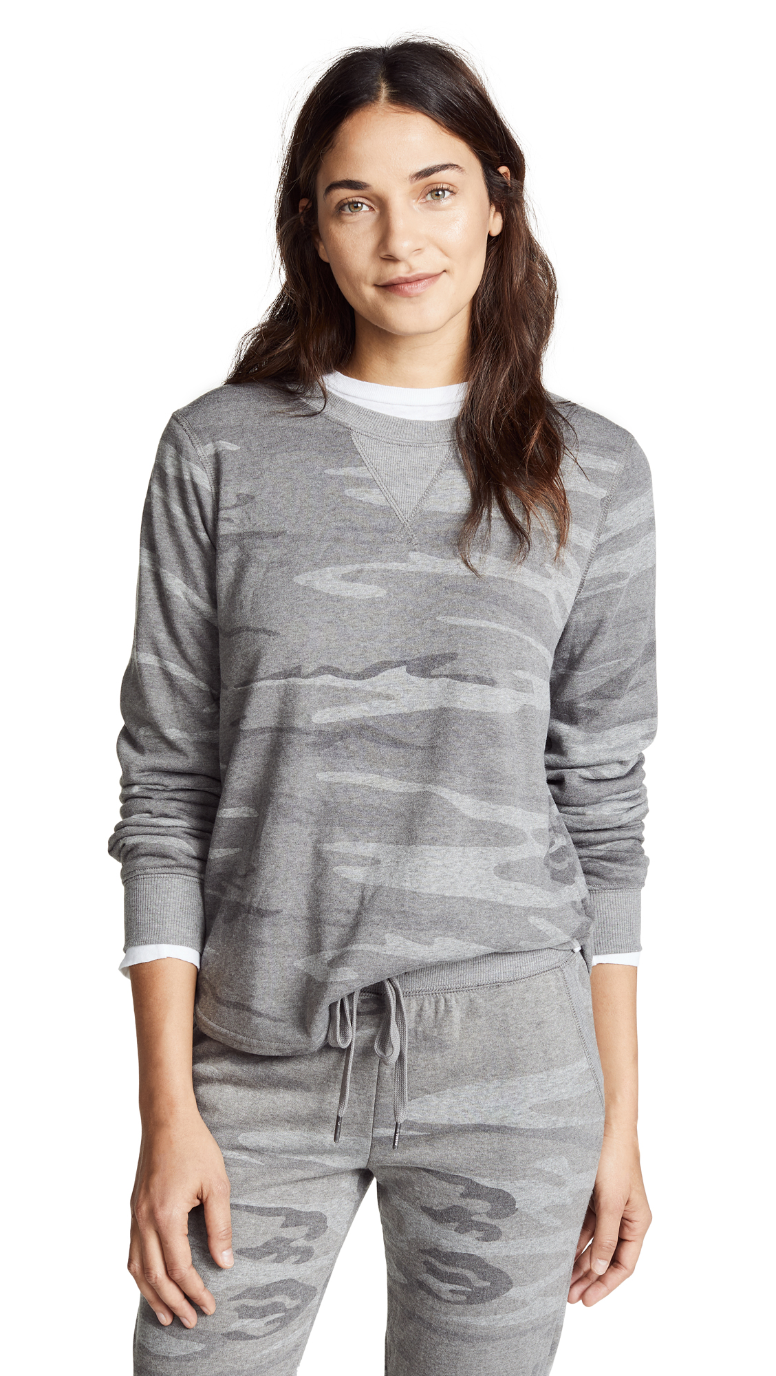 Z Supply The Loft Camo Crew Pullover In Dark Grey Camo