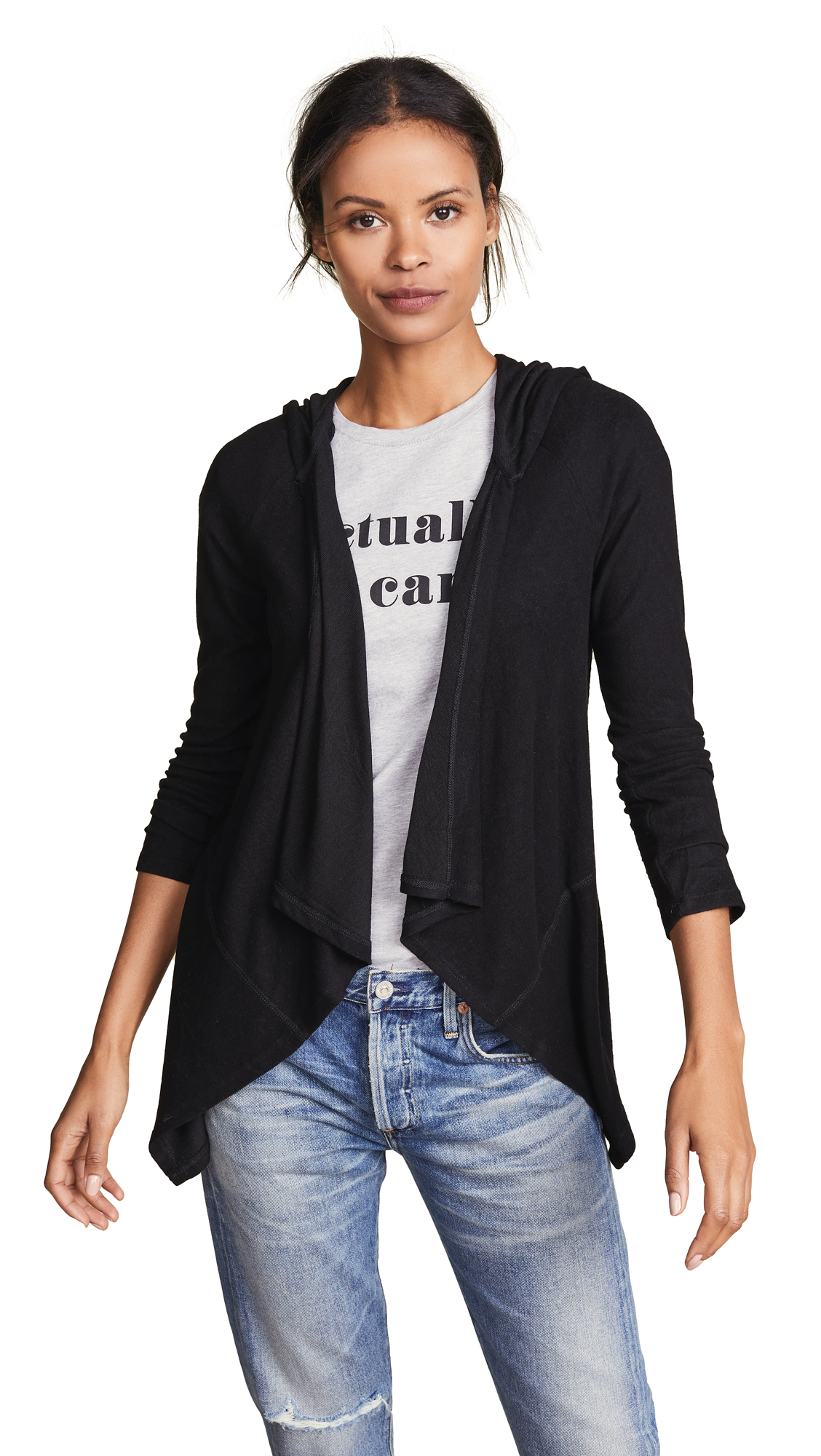 Z Supply The Waterfall Hooded Cardigan In Black