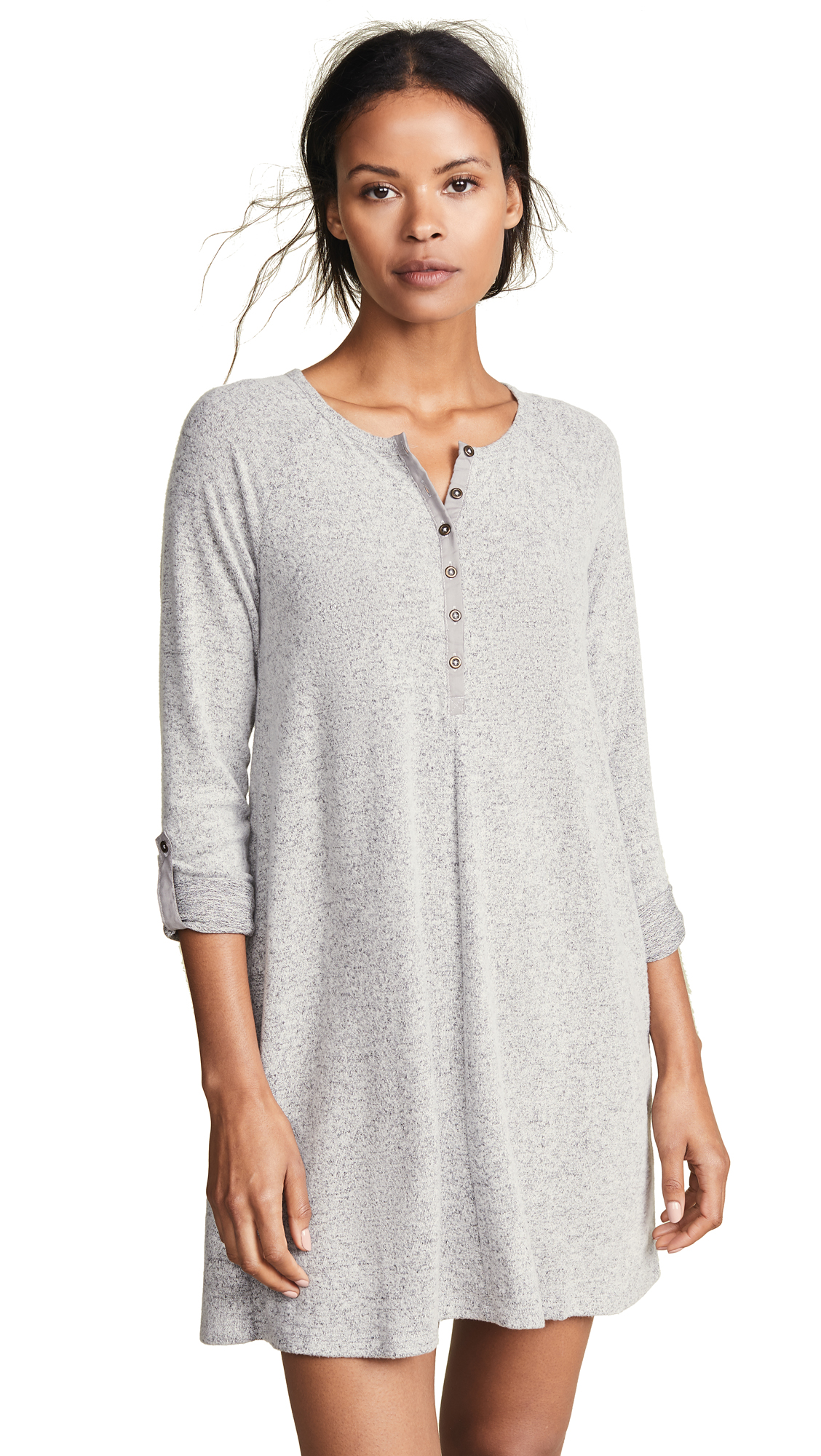 Z Supply The Marled Henley Dress In Heather Grey